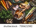 pot with sliced colorful... | Shutterstock . vector #730621582