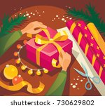wrapping presents for christmas ...   Shutterstock .eps vector #730629802