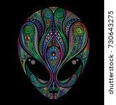 Color Vector Alien Head From...
