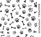 pet paw and bones seamless... | Shutterstock .eps vector #730645498