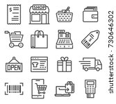 line shopping and retail icons... | Shutterstock .eps vector #730646302