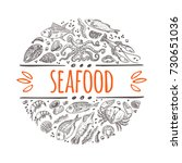seafood menu concept. hand... | Shutterstock .eps vector #730651036