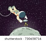 sketch of astronaut with loupe. ... | Shutterstock .eps vector #730658716