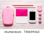 pink stationery tools for girl  ... | Shutterstock . vector #730659262