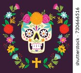 """dia de los muertos""  day of... | Shutterstock .eps vector #730666516"
