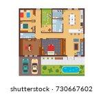 flat modern family house... | Shutterstock .eps vector #730667602