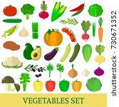 a set of vegetables. organic... | Shutterstock .eps vector #730671352