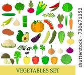 a set of vegetables. organic... | Shutterstock .eps vector #730671352