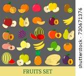 a set of fruits . organic... | Shutterstock .eps vector #730671376