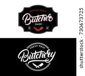 set of butcher shop and...   Shutterstock .eps vector #730673725