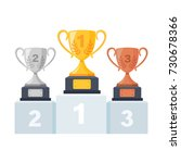gold  silver  bronze trophy cup ... | Shutterstock .eps vector #730678366