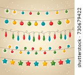 a set of christmas garlands.... | Shutterstock .eps vector #730679422