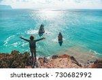 back view of man traveler... | Shutterstock . vector #730682992