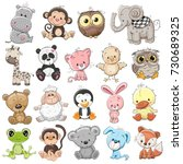 set of cute animals on a white... | Shutterstock . vector #730689325
