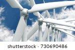 many wind power generators on... | Shutterstock . vector #730690486