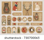 christmas kraft paper cards and ... | Shutterstock .eps vector #730700065