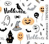 cute vector seamless pattern... | Shutterstock .eps vector #730701622