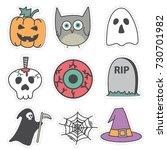cute halloween character...   Shutterstock .eps vector #730701982