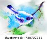 blue bird. watercolor... | Shutterstock . vector #730702366