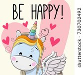 be happy greeting card unicorn... | Shutterstock . vector #730702492