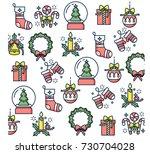 vector linear design christmas... | Shutterstock .eps vector #730704028