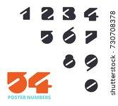 numbers set in vintage style.... | Shutterstock .eps vector #730708378