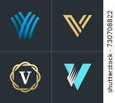 logo letter v element set.... | Shutterstock .eps vector #730708822