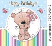 greeting card cute teddy bear... | Shutterstock . vector #730714042