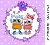 greeting card with two cute... | Shutterstock . vector #730714426