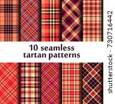 set of 10 seamless tartan... | Shutterstock .eps vector #730716442