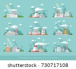 industrial landscape set. the... | Shutterstock .eps vector #730717108