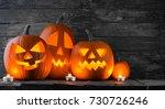 halloween pumpkin heads jack o... | Shutterstock . vector #730726246