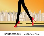 woman's slender legs in red... | Shutterstock .eps vector #730728712