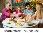 happy family celebrating... | Shutterstock . vector #730735822