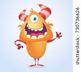 cute cartoon silly orange... | Shutterstock .eps vector #730736626