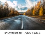 Road  Highway In Autumn Forest...
