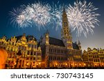view of the grand place  grote... | Shutterstock . vector #730743145