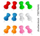 set of colorful vector push pins | Shutterstock .eps vector #73074646