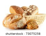 Composition with loaf of bread and rolls - stock photo