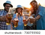 happy cheerful friends spending ... | Shutterstock . vector #730755502
