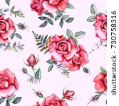 red watercolor roses. seamless... | Shutterstock . vector #730758316