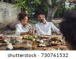 beautiful caucasian smiling... | Shutterstock . vector #730761532