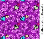 seamless pattern with hearts... | Shutterstock .eps vector #730767685