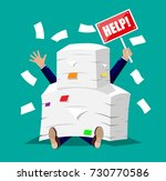 stressed businessman under pile ... | Shutterstock .eps vector #730770586