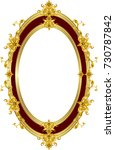 golden mirror frame with floral ... | Shutterstock .eps vector #730787842
