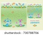cute little rabbits. help the... | Shutterstock .eps vector #730788706