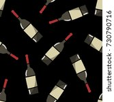 bottle of wine seamless doodle... | Shutterstock .eps vector #730790716