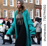 Small photo of LONDON- 15 September 2017 Landiana Yolo on the street during the London Fashion Week