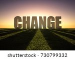 change word at sunset over... | Shutterstock . vector #730799332
