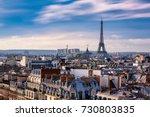 paris rooftops. eiffel tower ... | Shutterstock . vector #730803835